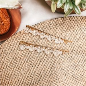 Clear Acrylic And Gold Hair Pins